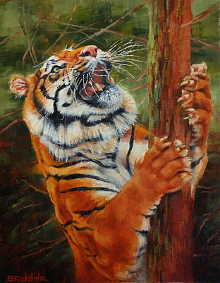 Painting - Tiger Chasing Prey by Margaret Stockdale