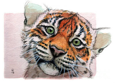 Miniature Watercolors Painting - Tiger Cub 887 by Svetlana Ledneva-Schukina
