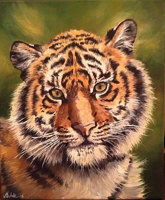 Painting - Tiger Cub by Art By Three Sarah Rebekah Rachel White