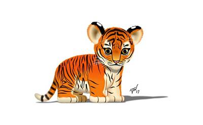 Digital Art - Tiger Cub by John Wills