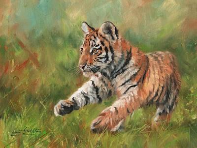 Tiger Cub Painting - Tiger Cub Running by David Stribbling