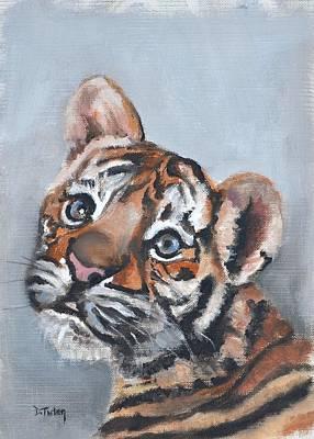 Painting - Tiger Cub Safari Animal Painting by Donna Tuten