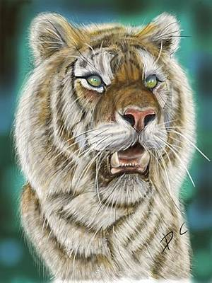 Digital Art - Tiger by Darren Cannell