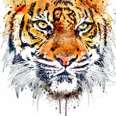 Big Square Format Mixed Media - Tiger Face Close-up by Marian Voicu