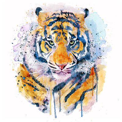 Feline Mixed Media - Tiger Face by Marian Voicu