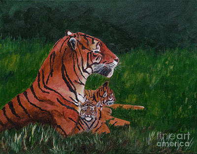 Painting - Tiger Family by Laurel Best