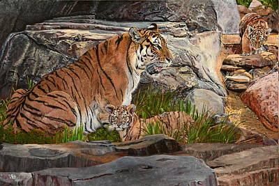 Painting - Tiger Family by Vicky Path