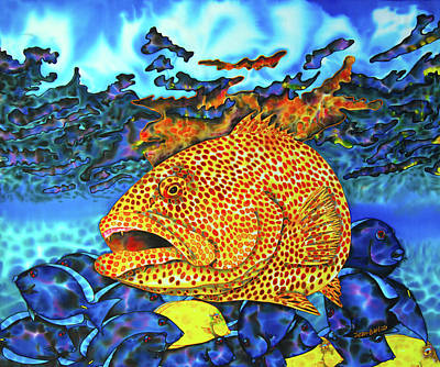 Salt Water Game Fish Painting - Tiger Grouper And Tang Fish by Daniel Jean-Baptiste