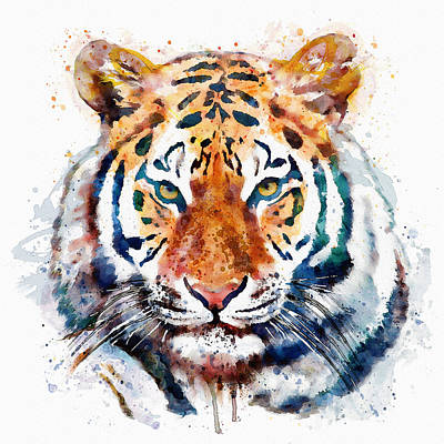 Big Square Format Mixed Media - Tiger Head Watercolor by Marian Voicu