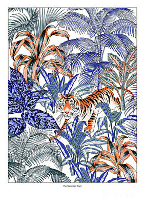 Stripe Drawing - Tiger In It's Habitat by Jacqueline Colley