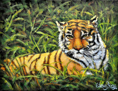 Painting - Tiger In Meadow by Eileen  Fong