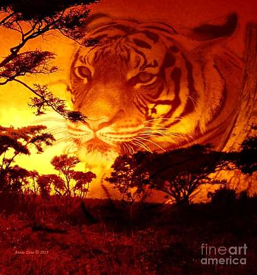 Photograph - Tiger In Sunset by Annie Zeno
