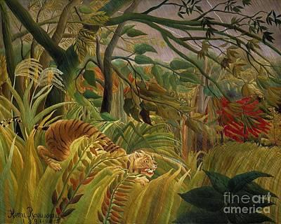 Tiger In Tropical Storm Art Print