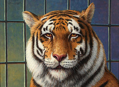 Circus Painting - Tiger In Trouble by James W Johnson
