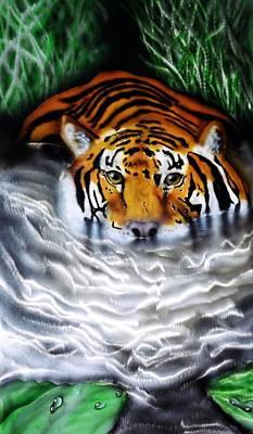 Tiger Lily Mixed Media - Tiger In Water by Chris Macri