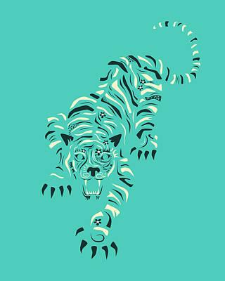 Tiger Digital Art - Tiger by Jazzberry Blue