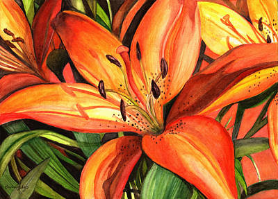 Tiger Lily Painting - Tiger Lilies by Elaine Hodges