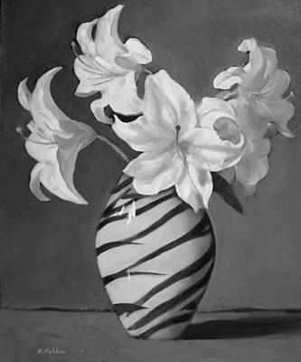 Painting - Tiger Lilies In Black And White by Robert Holden