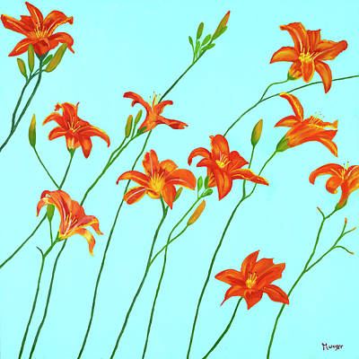 Tiger Lily Painting - Tiger Lilies by Roseann Munger