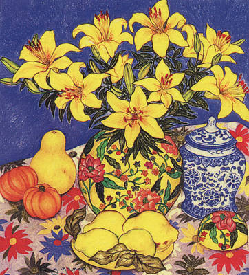 Pastel - Tiger Lilies With Quinces And Gourds by Richard Lee