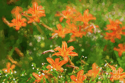 Photograph - Tiger Lily Flowers - Painterly by Les Palenik