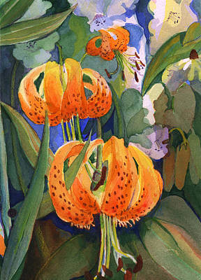 Painting - Tiger Lily Parachutes by Nancy Watson