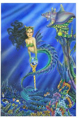 Atlantis Painting - Tiger Mermaid by Carmen Daspit