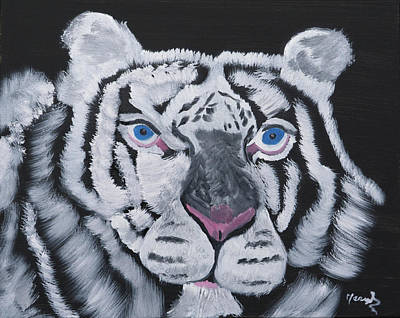 Painting - White Tiger Thoughts by Meryl Goudey