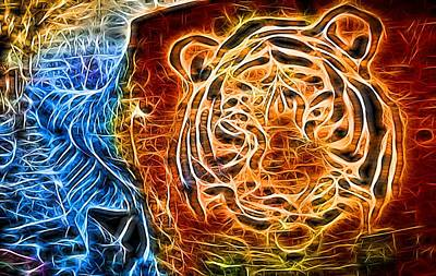 Photograph - Neon Face Of Tiger by John Williams