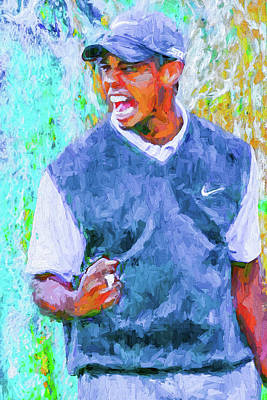 Tiger One Two Three Painting Digital Golfer Art Print by David Haskett