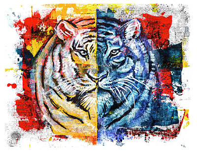 Art Print featuring the painting Tiger, Original Acrylic Painting by Ariadna De Raadt