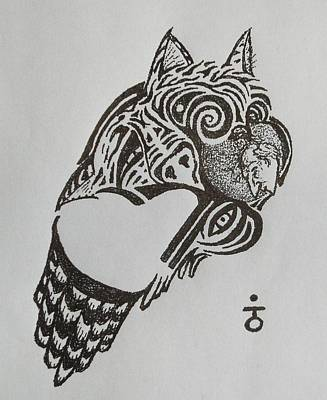 Stipple Owl Drawing - Tiger Owl by Charles Kabrich