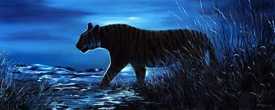 Painting - Tiger Painting / Print Night Scene by Jason Morgan