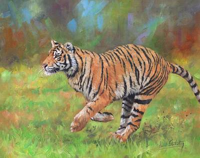 Tiger Running Original by David Stribbling