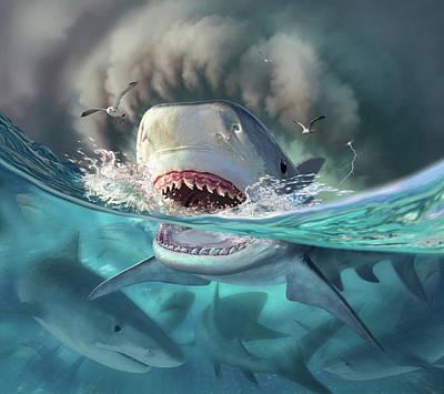 Sharks Digital Art - Tiger Sharks by Jerry LoFaro