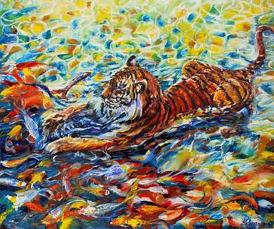 Pallet Knife Painting - Tiger Snack by Yelena Rubin