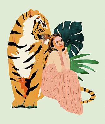 Drawing - Tiger Spirit by Uma Gokhale
