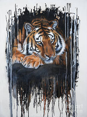 Abstract Wildlife Painting - Tiger Splash by Sandi Baker