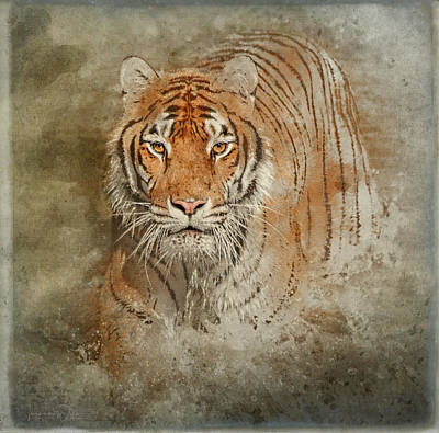 Mixed Media - Tiger Splash by Teresa Wilson