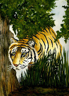 India Wildlife Painting - Tiger Stalking by Michael Vigliotti
