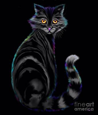 Digital Art - Tiger Striped Cat by Nick Gustafson