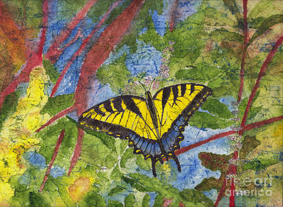 Painting - Tiger Swallowtail Watercolor Batik On Rice Paper by Conni Schaftenaar