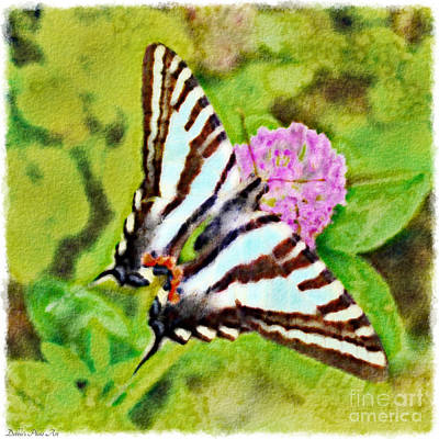 Photograph -  Zebra Swallowtail Butterfly - Digital Paint 1 by Debbie Portwood