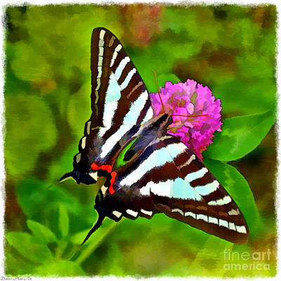 Photograph -  Zebra Swallowtail Butterfly - Digital Paint 2 by Debbie Portwood