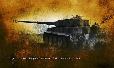 Art Print featuring the digital art Tiger Tank by John Wills