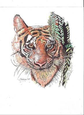 Drawing - Tiger by Bill Hubbard