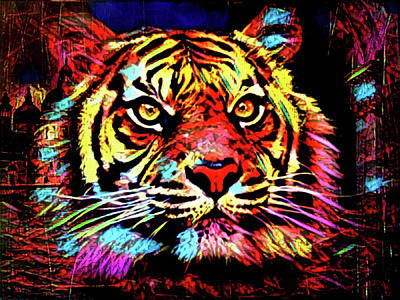 Digital Art - Tiger Tiger Burning Bright by Kathy Kelly