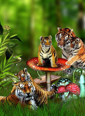 Toadstool Digital Art - Tiger Toadstools by Julie L Hoddinott