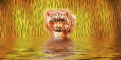 Digital Art - Tiger Upon Reflection by Cheryl Hall