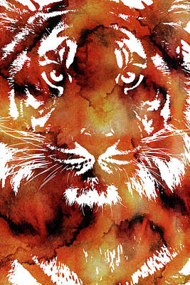 Digital Art - Tiger Watercolor Portrait by Mihaela Pater